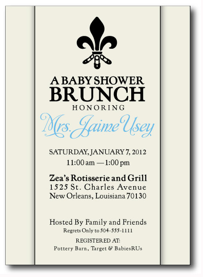 The Safety Pin Fleur de Lis Invitation Front