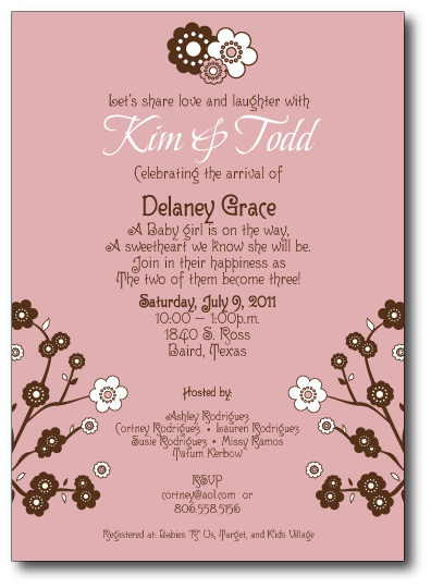 The Pink & Chocolate Flower Shower Invitation Front